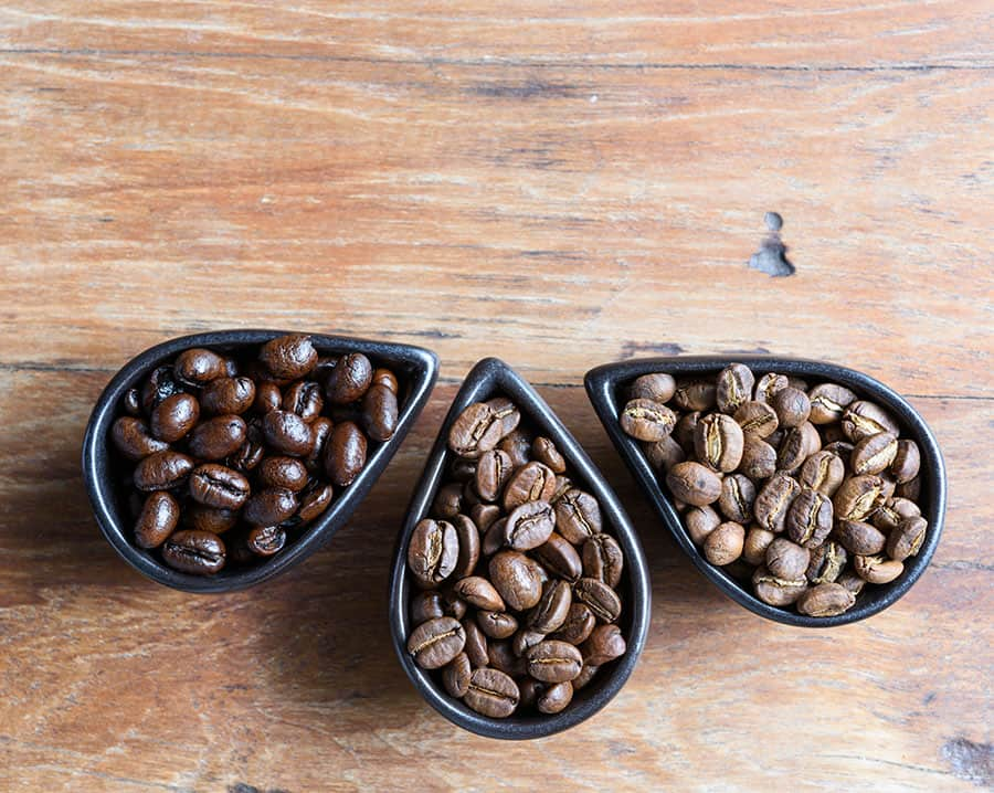 Different levels of Coffee Roasting